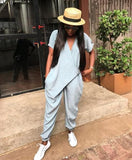 Wrap Front V Neck Loose Jumpsuit