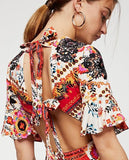 V-neck short-Sleeve Floral-Print Maxi Bohemia Dress