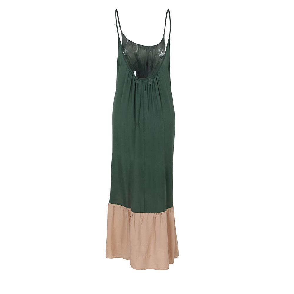 Sexy V-collar Green Spaghetti Strap Midi Dress