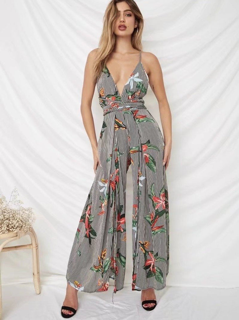 Sexy Open Back Floral Print Striped Jumpsuits