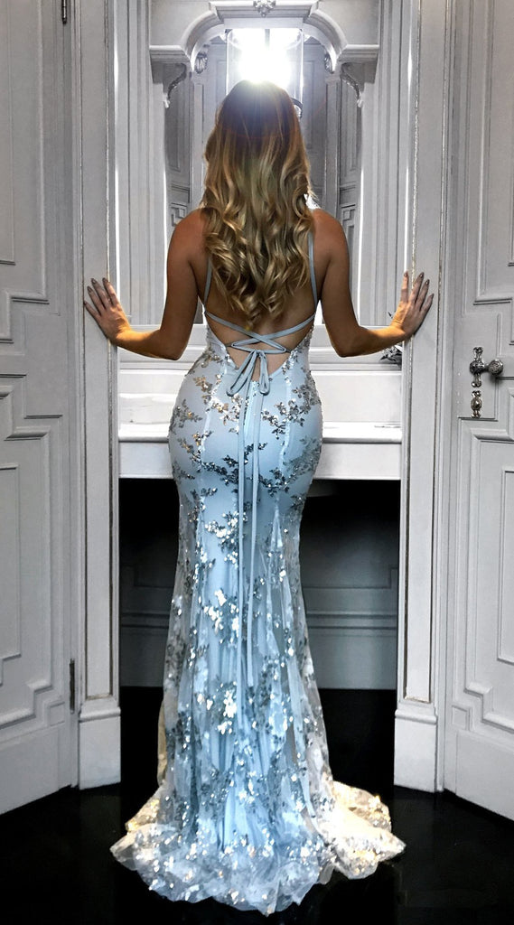 Sexy V-neck strap sequin backless dress