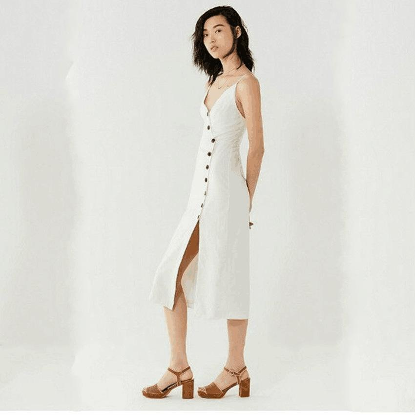Sexy Front Split Solid Color Midi Dress