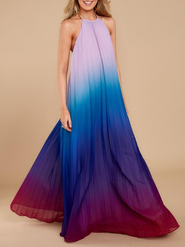 Bohemian Crew Neck Gradient Loose Maxi Dress