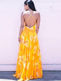 Yellow V-neck Backless Bohemia Maxi Dress