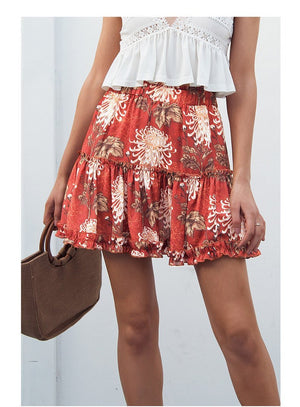 Boho Floral Print Ruffle Mini Skirt A-Line Casual Beach Summer