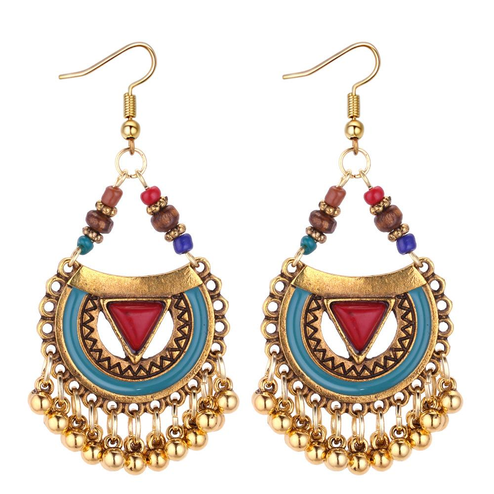 Retro Drop  Metal Ball Drop Earrings Tassel