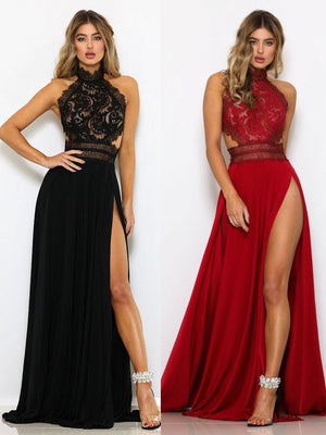 Sexy Lace Halter Open Back Maxi Dress