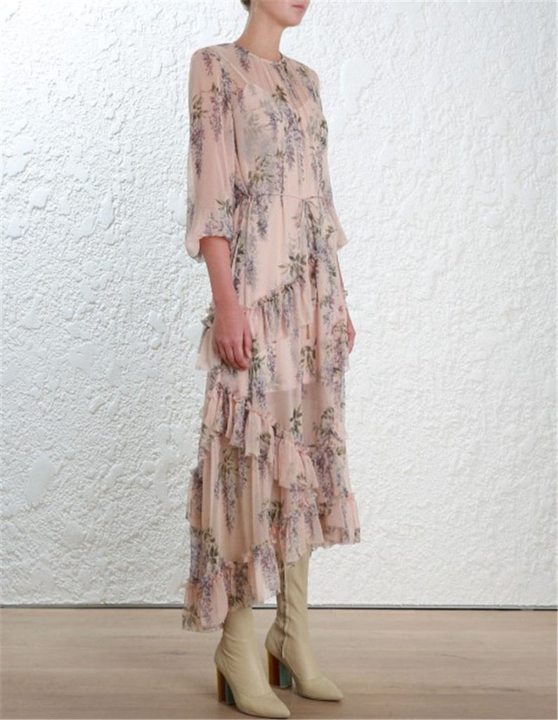 Pink Floral Lantern Sleeve Chiffon Beach Maxi Dress
