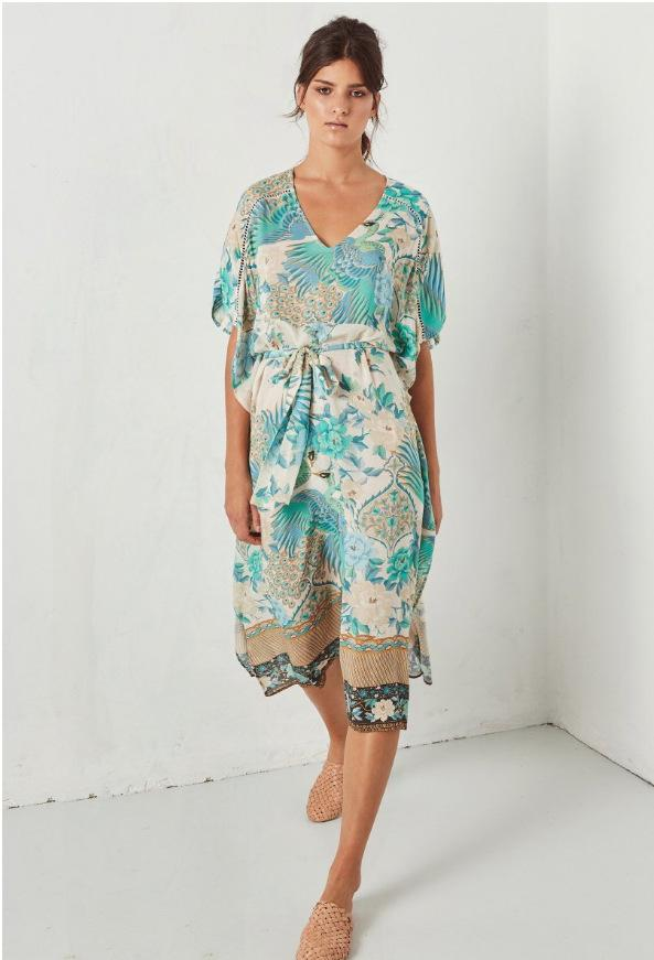 Bohemian Retro Peacock Print Short sleeve Midi Dress