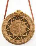 Boho beach dig out large Rattan hollowed star Fashion Bag