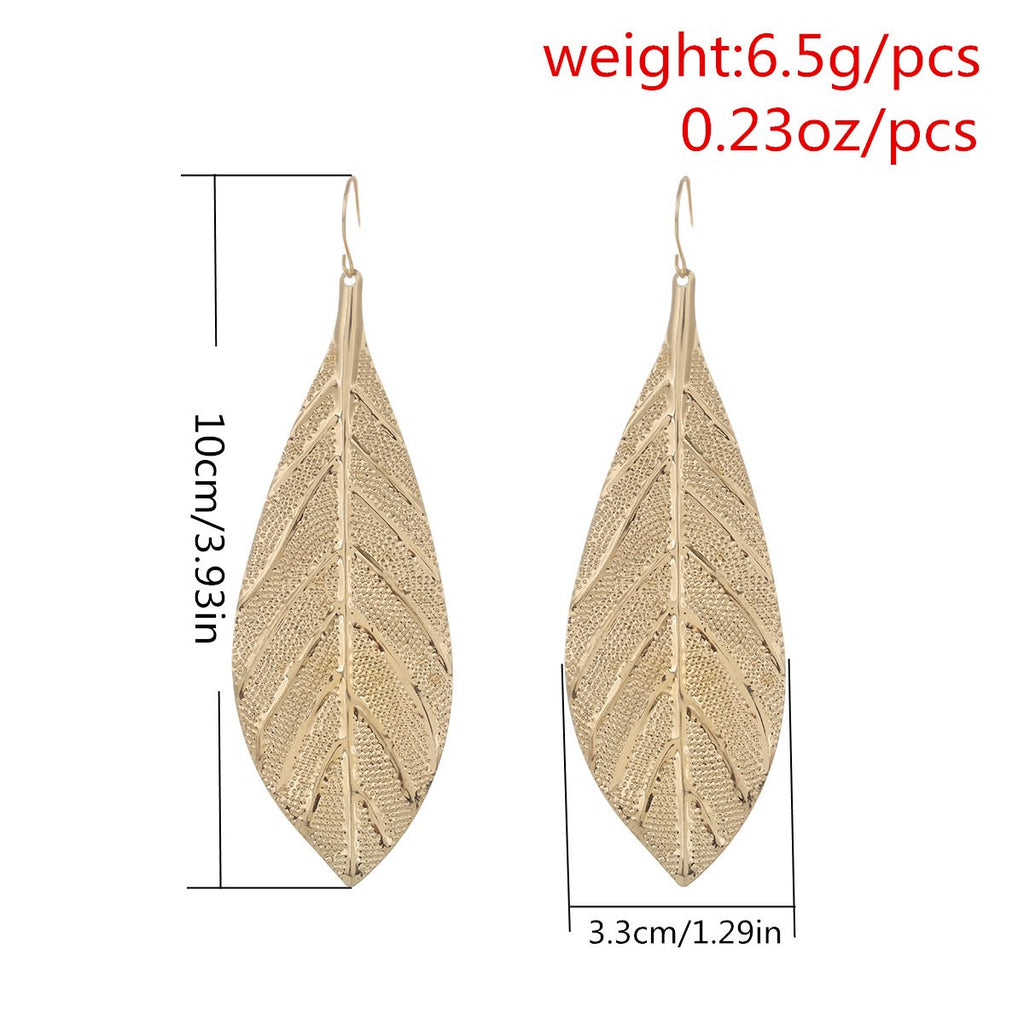 Tide Wild business Metal Leaf Long Earrings