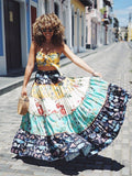 Two Pieces Floral Printed Boho Beach Maxi Dress