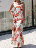 Sexy V Neck Floral Print Summer Maxi Dress