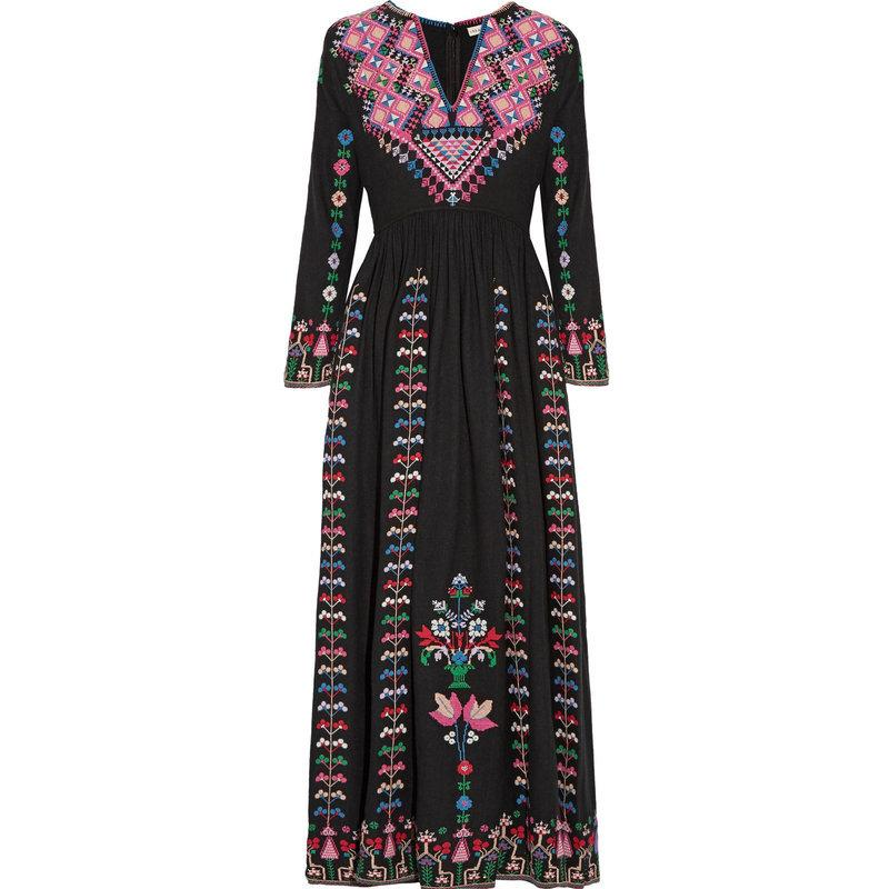 Boho-inspired floral folk embroidery long-sleeved maxi dress
