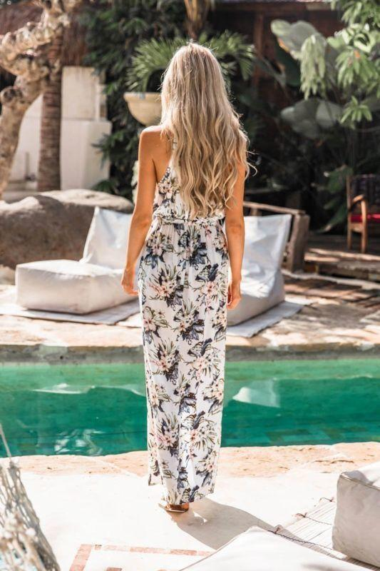 Sleeveless printed holiday slit dress