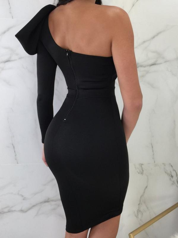 Black Cut Out Asymmetric Shoulder  Backless  Midi Dress