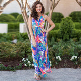 V-neck printed beach Holiday slit Long Floral Dress