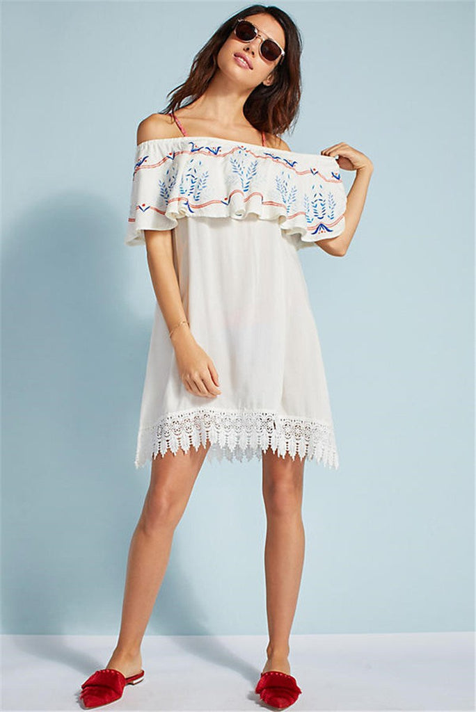 Ruffled Off-The-Shoulder Cover-Up