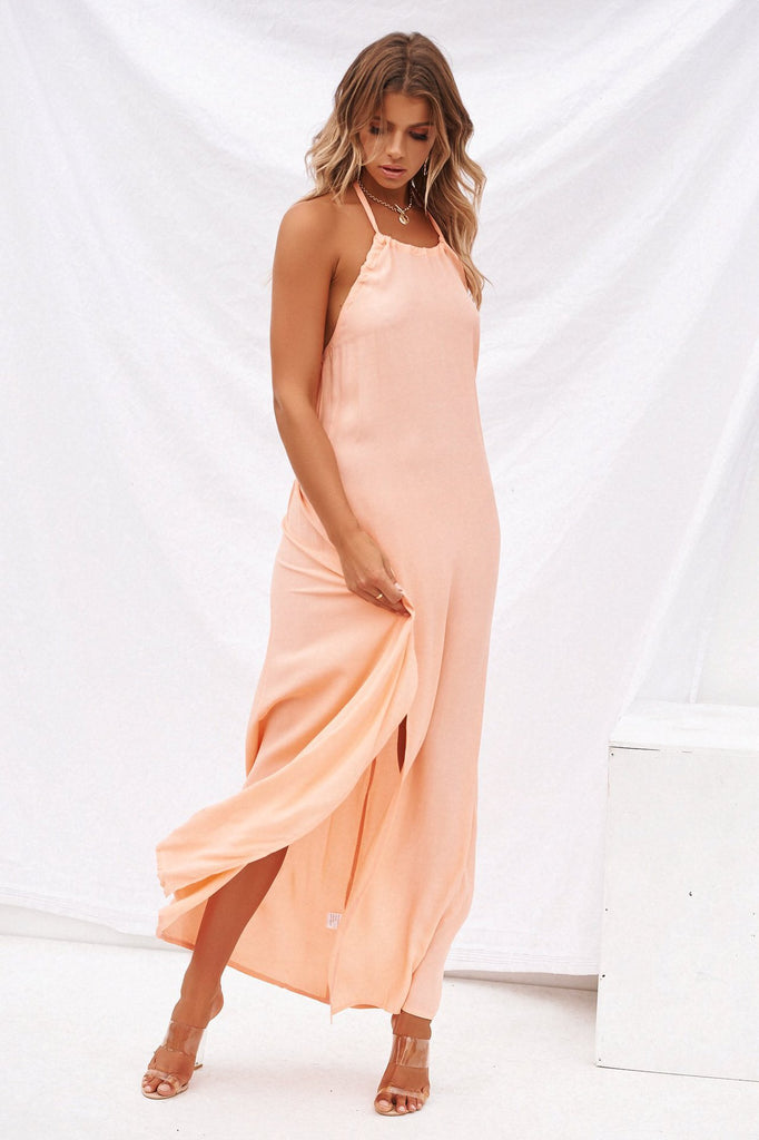 Boho Evening Party Long Maxi Beach Backless Sexy Solid Color Dress