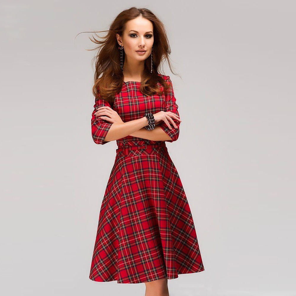 Plaid Draped 3/4 Sleeve Elegant Christmas Mini Dress