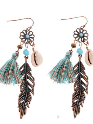 Vintage Leaf Pendant Cutout Carved Alloy Fringe Earrings