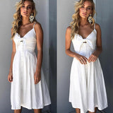 Cotton and linen plain bowknot pocket dress