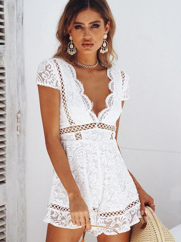 Fashion Sexy Short Sleeve V Neck Lace Romper