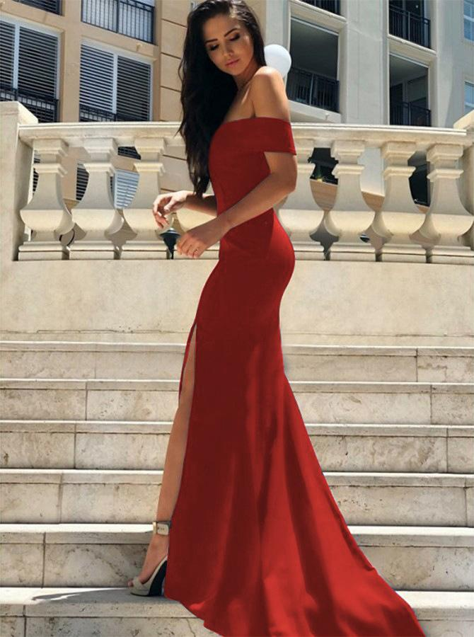 Sexy Off Shoulder Split Mermaid Evening Dress