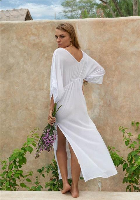 Sexy V-neck Embroidered Beach White Maxi Dress