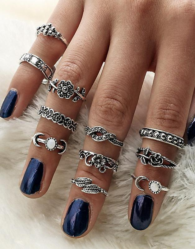 11 Pcs Vintage Bohemian Ring Set