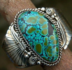 Vintage Native Turquoise Alloy Rings