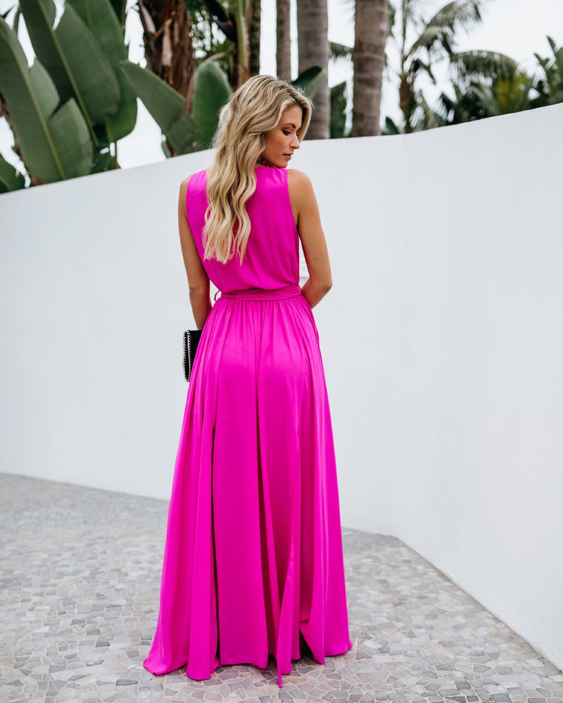 Pure color split dress temperament dress