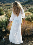 Lace vacation bikini outer cover white long maxi dress
