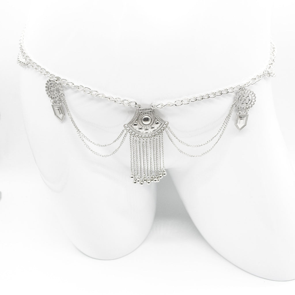 Bohemian long fringe waist chain umbilical body chain