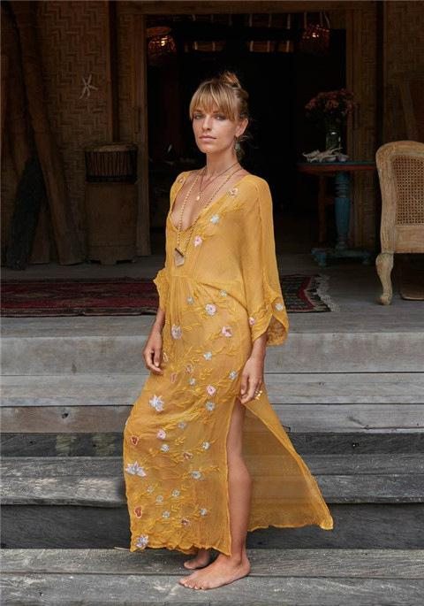 Sexy V-neck Embroidered Beach Yellow Maxi Dress