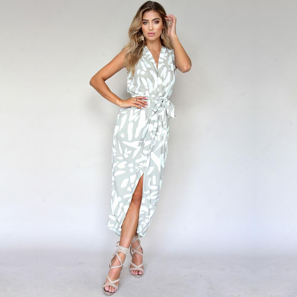 Sleeveless Printed Strap Split Maxi Dress