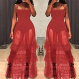 Mesh Perspective Ruffled Swing Maxi Boho Dress
