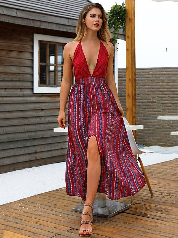 Spaghetti Floral Sexy Deep V-neck Backless Maxi Dress