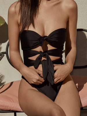 Black Color Sexy Bandage One Pieces Swimwear
