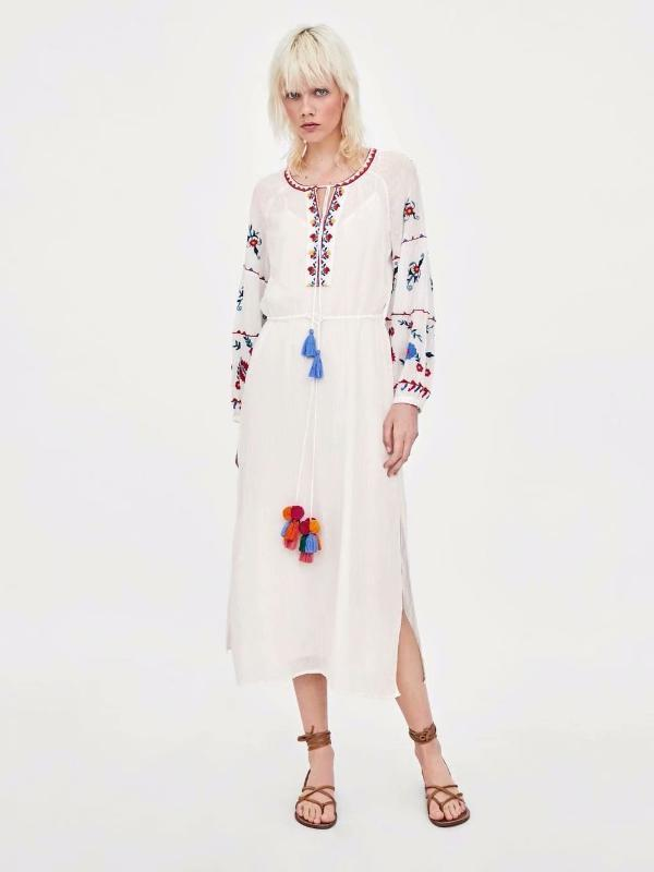 Women's Color Embroidered Gown LongSleeve Mididress