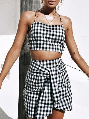 Sexy Two Pieces Plaid Sling Suit Sets