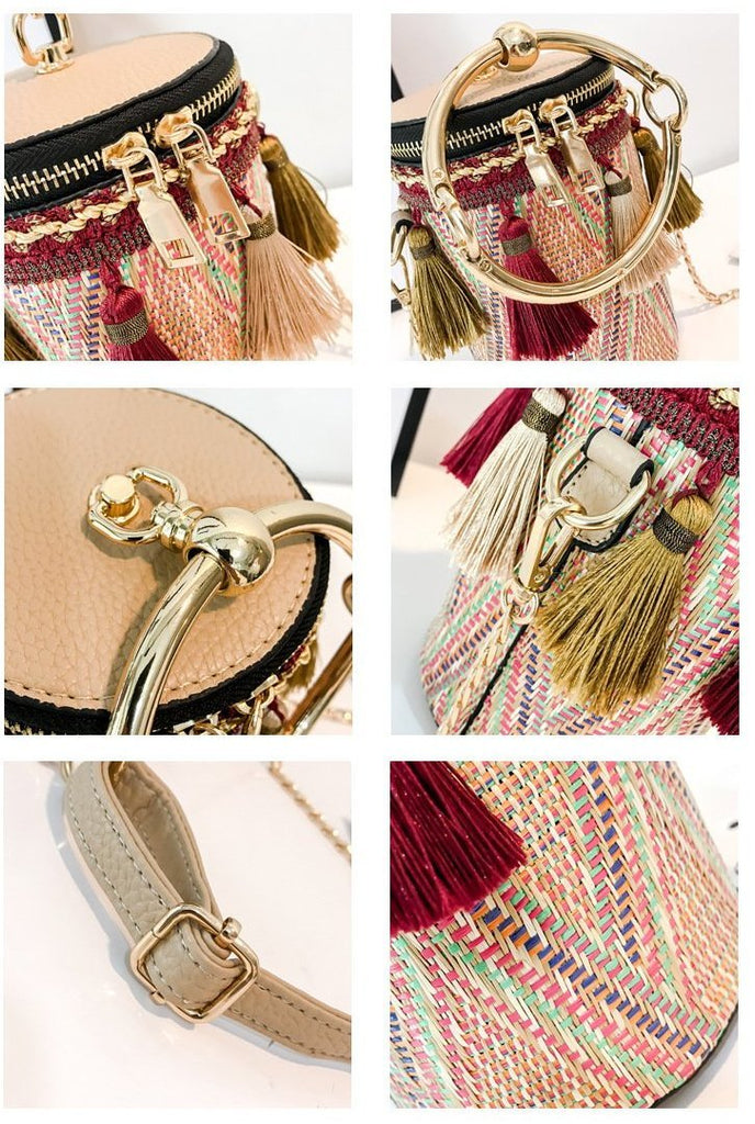 Woven Hand Bucket And Shoulder Bag