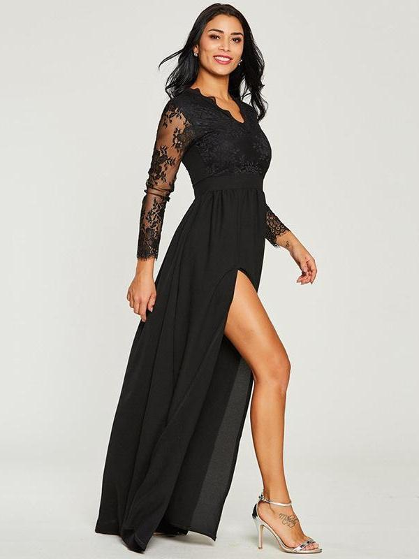 New Sexy Black Lace Formal Evening Dresses