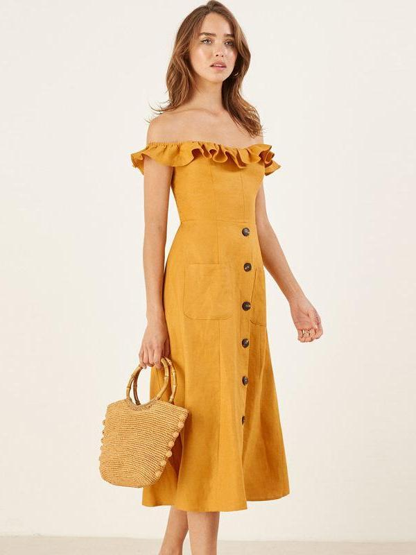 Yellow Off-shoulder Sexy Beach Holiday Midi-dress