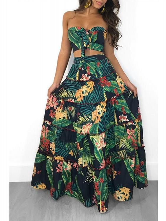 Two Pieces Floral Printed Boho Beach Long Dress