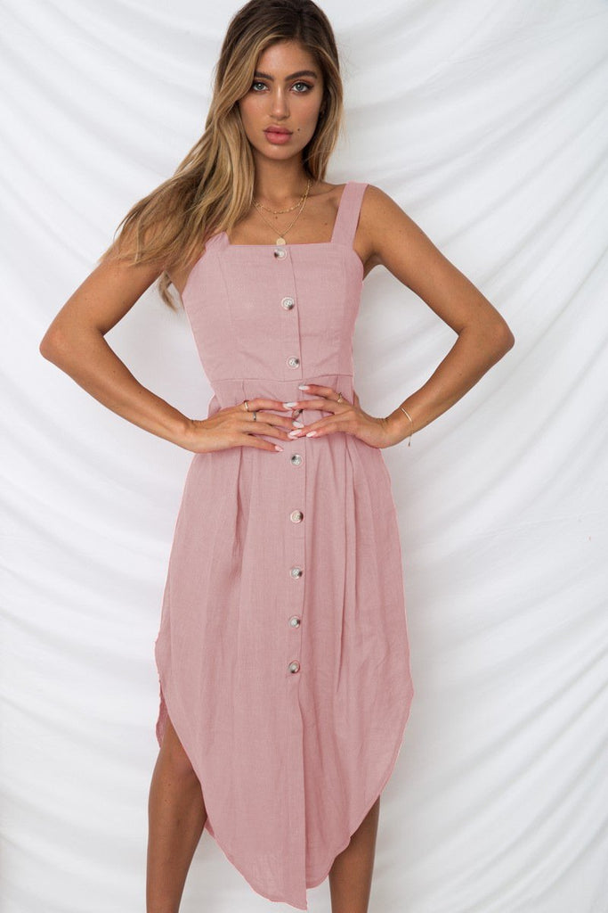 Solid Color Sleeveless Irregular Midi Dress