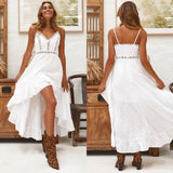 Sexy V Collar Hollow Lace Stitching Irregular Vacation Maxi Dress