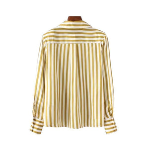 Women ruffles striped shirts long sleeve pleated blouses