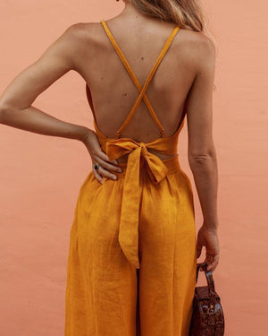Yellow Tie Top + Wide-leg Pant Suit