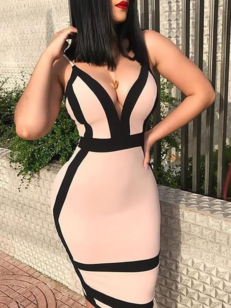 Contrast Binding Deep V Bodycon Slip Dress